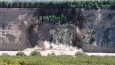 Dramatic footage shows massive landslide into flooded Rangitata River