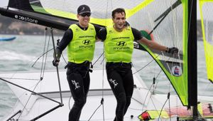 New Zealand 49er sailors Peter Burling and Blair Tuke celebrate winning gold. Photo / Photosport