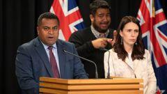 Kris Faafoi and Jacinda Ardern at a press conference. (Photo / File)