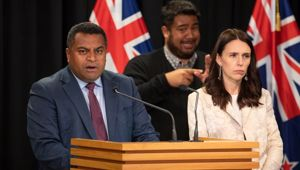 Kris Faafoi and Jacinda Ardern at a press conference. (Photo / File)