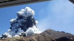 Still from video shot from a tourist boat next to White Island as the volcano erupted about 2:15pm (Photo / Allessandro Kauffman)