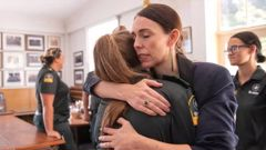 New Zealand Prime Minister Jacinda Ardern meets with first responders at the Whakatane Fire Station. Photo / Getty Images