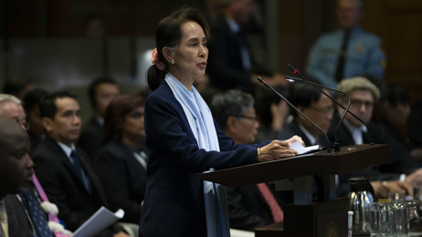 Aung San Suu Kyi defends Myanmar's military in genocide case