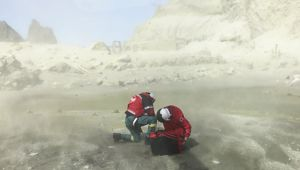 First responders on the ground on White Island after the eruption. (Photo / Supplied)