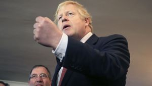 Boris Johnson has celebrated after scoring a huge working majority. (Photo / AP)