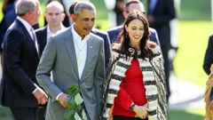 Barack Obama meeting with Jacinda Ardern during his visit last year. (Photo / File)