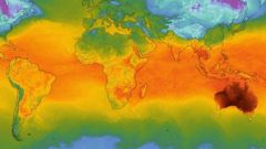 This world temperature map shows Australia, on its own, with scorching temperatures. (Photo / Windy)