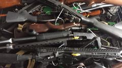 Guns collected during an early buyback event. (Photo / Newstalk ZB)