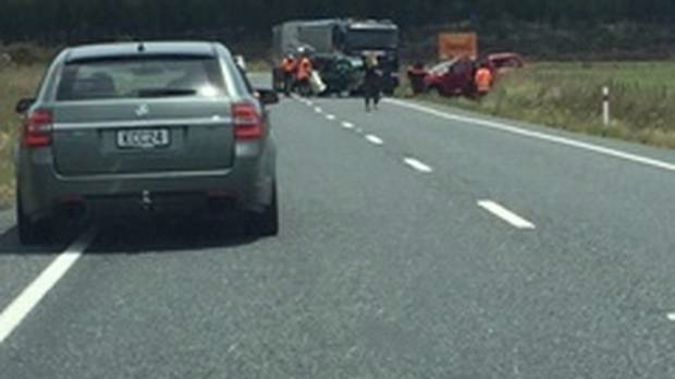 Two people died after a crash that happened at about 1.25pm on Monday on State Highway 5 near Rangitaiki School and Matea Rd. Photo / Supplied