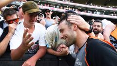 Tom Blundell is congratulated by the fans after his century at the MCG. Photo / Photosport