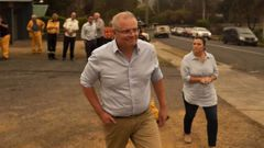 Scott Morrison arrives in Cobargo with wife Jenny. (Photo / News Corp Australia)