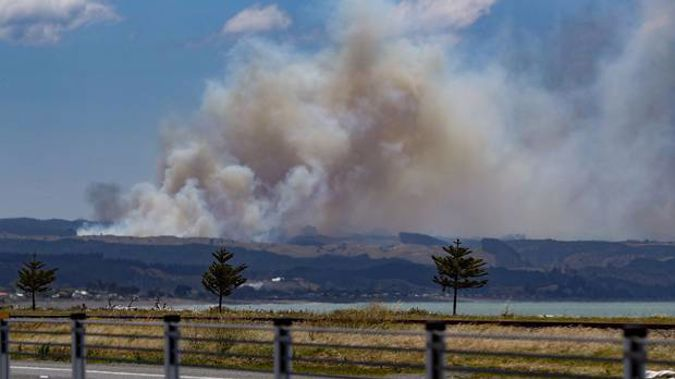 The view of the fire from SH2,north of Hawke's Bay Airport. Photo / Warren Buckland