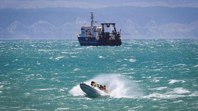 An IRB struggling through riled seas near Perfume Point in Napier on Monday. Photo / Warren Buckland