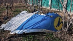 Part of the fuselage at the site where a Ukraine Airlines passenger plane crashed near the Imam Khomeini airport of the Iranian capital of Tehran. Photo / Getty
