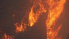 A mega-blaze has formed at the Snowy Mountains on the border of NSW and Victoria. Photo / AP