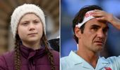 Greta Thunberg (L) has been critical of one of Roger Federer's major sponsors. Photo / Getty/Photosport