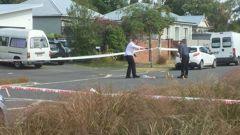 Police at the scene in Forbes St, Sydenham. Photo / Amber Allott