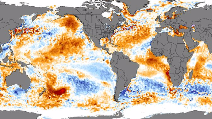It is similar to another 'blob' The red splotch in the bottom left of the image is a large area of ocean water at above-average water temperatures. (Image: University of Maine)