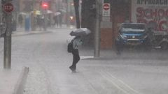 Rain in Sydney on Thursday is giving way to a bigger storm. Picture: John Grainger
