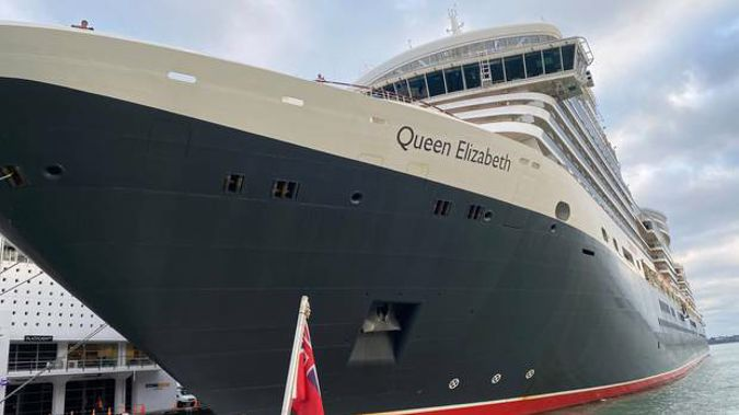 The Queen Elizabeth berthing in Auckland this morning, as seen from the deck of Fullers' close-brushing ferry from Hobsonville Point. Photo / Chris Keall