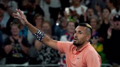Australia's Nick Kyrgios waves to the crowd as he celebrates after defeating Russia's Karen Khachanov in their third round singles match at the Australian Open. (Photo / AP)