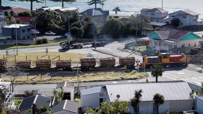 A logging train in Ahuriri, on its way to Napier Port. (Photo / File)