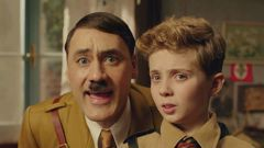 Taika Waititi and Roman Griffin Davis in Jojo Rabbit. Photo / Supplied