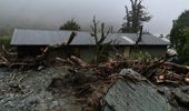 The aftermath of a landslide at Howden Hut on the Routeburn Track in Fiordland National Park. Photo / Grace Houpapa