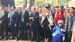 Party leaders at Waitangi as they prepare to walk onto the grounds. (Photo / NZ Herald)