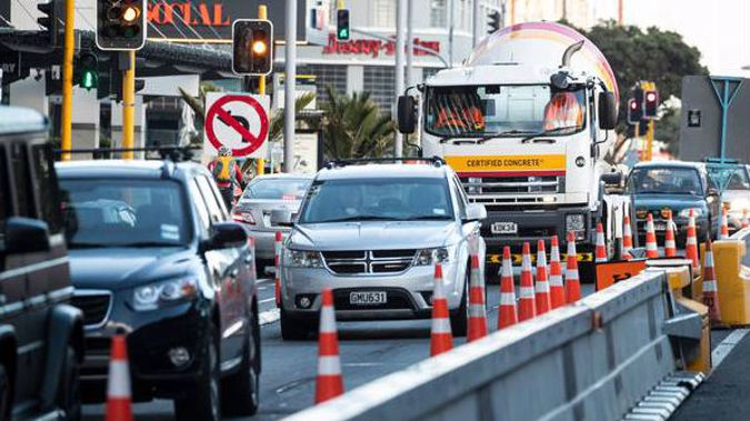 Traffic congestion due to road works on Quay St including trucks. 23 April 2019. Photo / Jason Oxenham