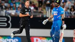 Tim Southee claimed the big wicket of Virat Kohli. Photo / Photosport