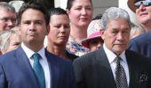 Awkward: National Party leader Simon Bridges and NZ First leader Winston Peters at Waitangi. Photo / John Stone