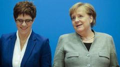 German Chancellor Angela Merkel, right, and CDU party chairwoman and Defence Minister Annegret Kramp-Karrenbauer, left, in Berlin, Germany. Photo / AP
