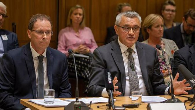 Radio New Zealand chief executive Paul Thompson, left, and chairman, Jim Mather, during their appearance before the Economic Development, Science and Innovation select committee Photo / Mark Mitchell