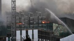 The convention centre on fire in October. (Photo / NZ Herald)