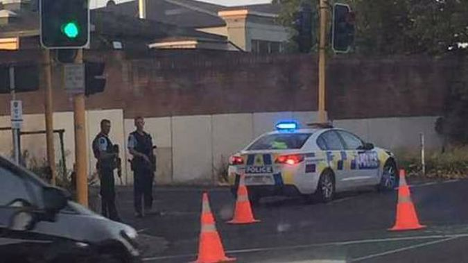 Armed police have closed part of State Highway 2 near Tauranga. Photo / Supplied