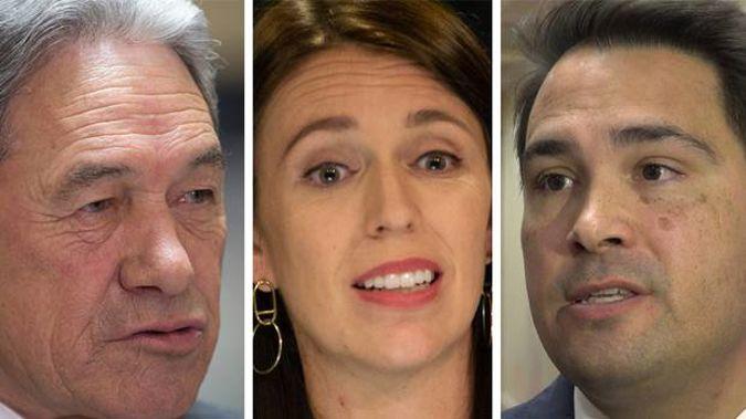 Winston Peters, Jacinda Ardern and Simon Bridges are jostling for votes.