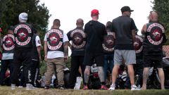 Dozens of Head Hunter gang members attended the funeral of a 32-year-old associate of the gang. Video / Alan Gibson