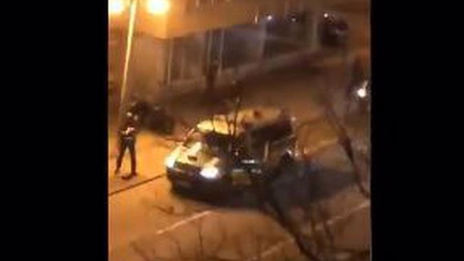 Police at the scene in Hanau. Photo / via Twitter
