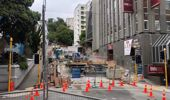 Wastewater is flowing through an above-ground bypass on Willis St after a wastewater tunnel collapsed just before Christmas. Photo / Georgina Campbell.