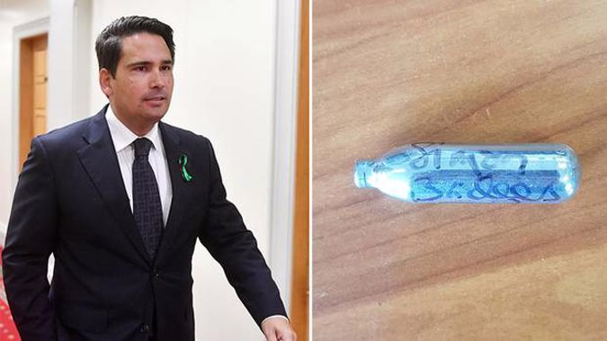 "National Leader Simon Bridges has been labelled ""blissfully unaware"" after signing a nitrous oxide canister, an item that is often used as a recreational drug. Photo / Getty Images / Twitter"