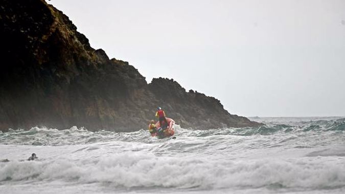 Rough conditions at Waihi Beach on Friday. Photo / George Novak