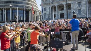 RNZ Concert fans yesterday protested the cancelled plans to axe the service. (Photo / NZ Herald)