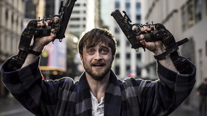Daniel Radcliffe's latest film Guns Akimbo was overshadowed by a Twitter spat involving it's New Zealand-born director. (Photo / Supplied)