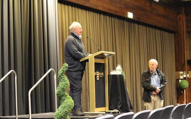 Ken Cochrane (left) made the comments at a meeting of the Southland Recreational Whitebaiters Association (SWRA) in Invercargill. Photo / Karen Pasco