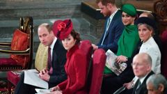 Harry and Meghan sit behind William and Kate at the service. Photo / AP
