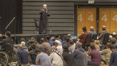 Al Noor imam Gamal Fouda speaks at the joint prayer service on Friday ahead of the one-year anniversary of the mosque shootings.