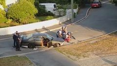 The dramatic shoot-out with police in a residential Christchurch street was witnessed by several locals. Photo / Supplied