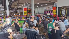 Pak'nSave Albany, where shoppers queued to buy goods. Photo / Amelia Wade