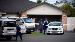 Police are searching a West Auckland property linked to a man whose remains were found buried off the Desert Rd. Photo / Dean Purcell